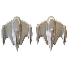 Set of 2 Large Sputnik Spaceship Wall Lamps or Sconces, 1990s, France