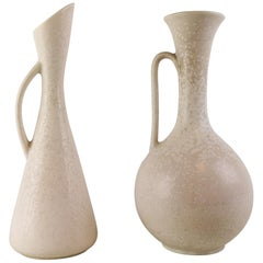 Set of 2 Large Vases Gunnar Nylund Ceramic Pieces Midcentury Sweden Rörstrand