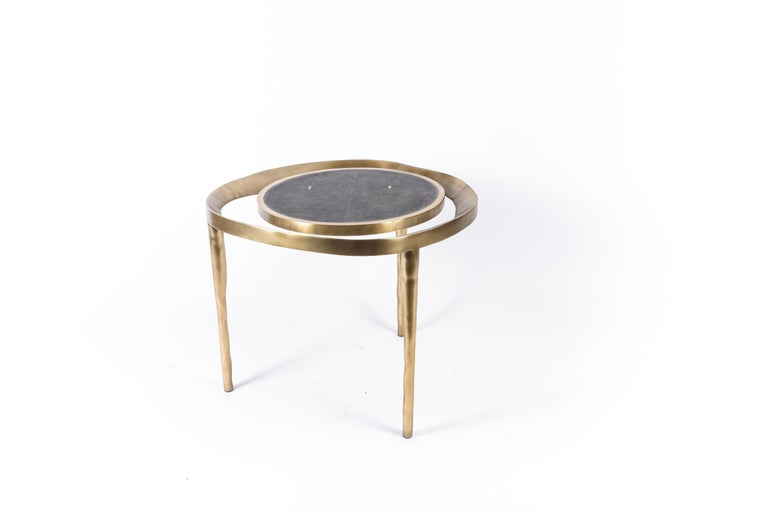Set of 2 Lily Melting Coffee Tables in Shagreen Lemurian & Brass by R&Y Augousti For Sale 3