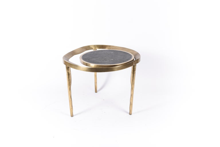 Set of 2 Lily Melting Coffee Tables in Shagreen Lemurian & Brass by R&Y Augousti For Sale 4