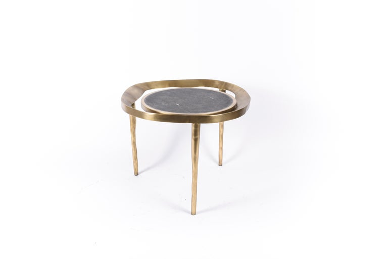 Set of 2 Lily Melting Coffee Tables in Shagreen Lemurian & Brass by R&Y Augousti For Sale 5