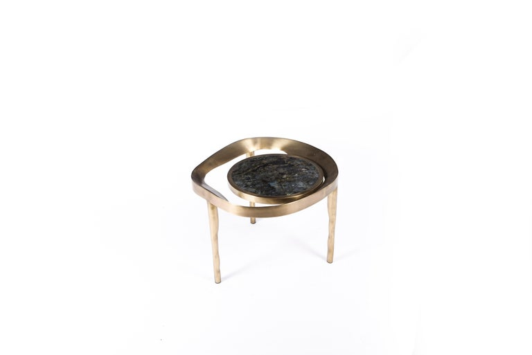 French Set of 2 Lily Melting Coffee Tables in Shagreen Lemurian & Brass by R&Y Augousti For Sale