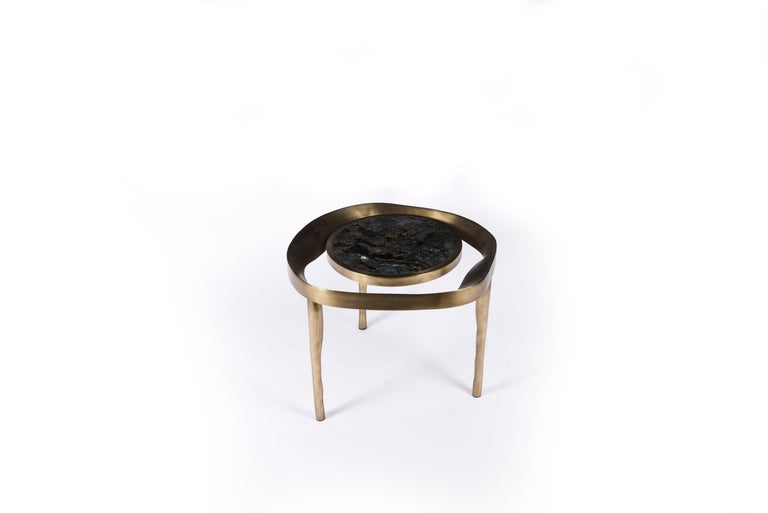 Hand-Crafted Set of 2 Lily Melting Coffee Tables in Shagreen Lemurian & Brass by R&Y Augousti For Sale
