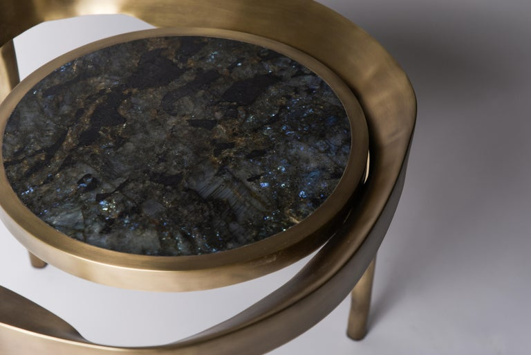 Set of 2 Lily Melting Coffee Tables in Shagreen Lemurian & Brass by R&Y Augousti In New Condition For Sale In New York, NY