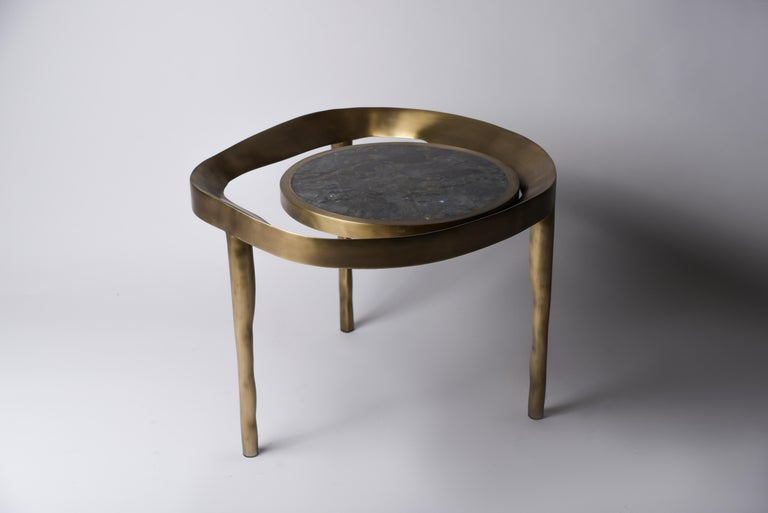 Set of 2 Lily Melting Coffee Tables in Shagreen Lemurian & Brass by R&Y Augousti For Sale 1