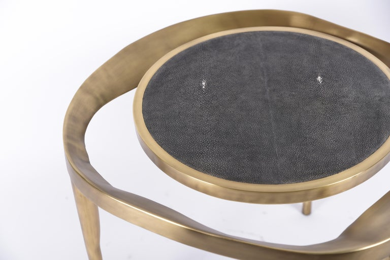 Set of 2 Lily Melting Coffee Tables in Shagreen Lemurian & Brass by R&Y Augousti For Sale 2