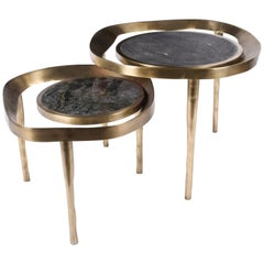 Set of 2 Lily Melting Coffee Tables in Shagreen Lemurian & Brass by R&Y Augousti