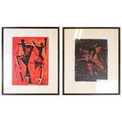 Set of 2 Lithographs After a Drawing by Marino Marini