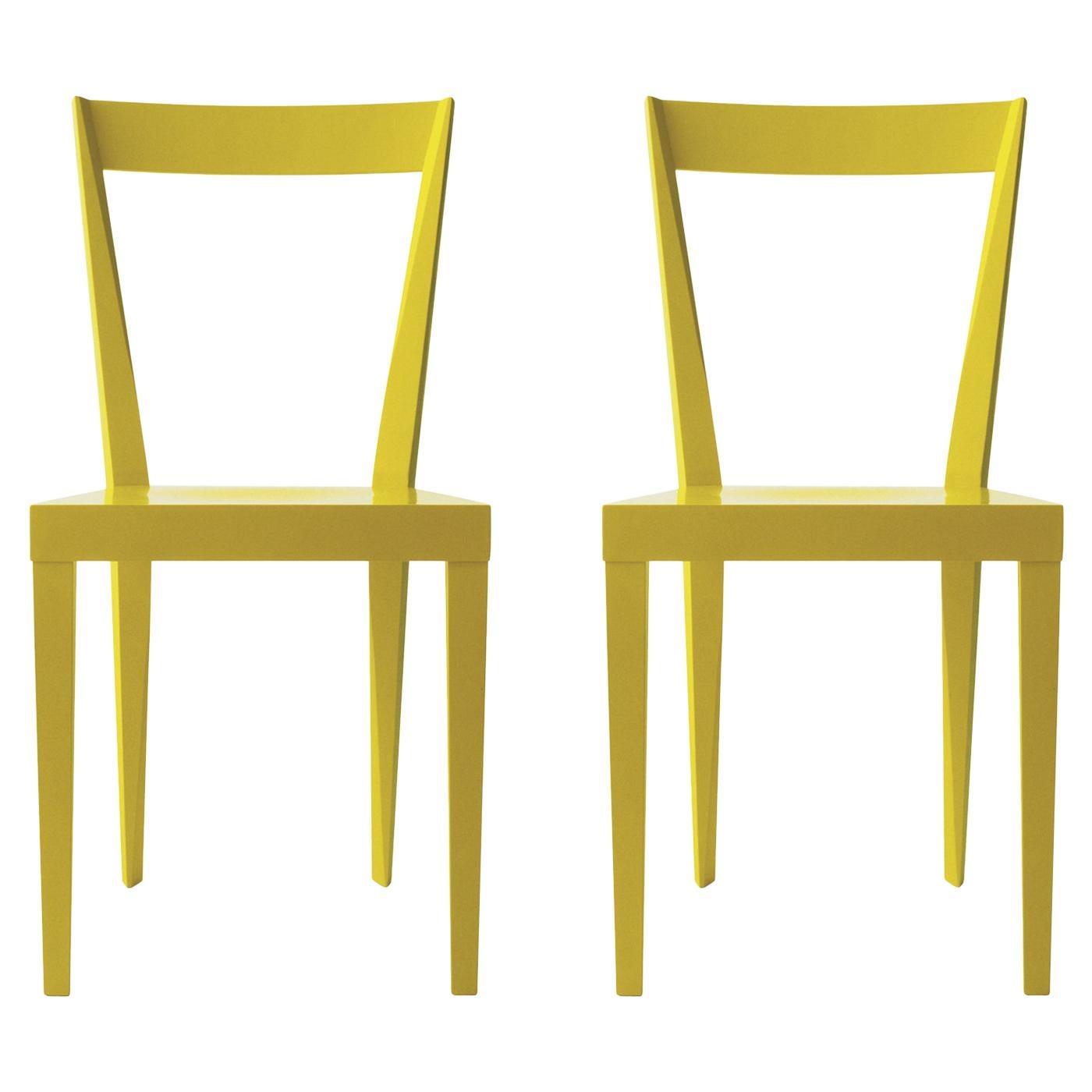 Set of 2 Livia Light Yellow Chairs by Giò Ponti