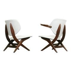"""Set of 2 Louis Van Teeffelen for Webe Easy Chairs """"Pelican"""", 1960s"""