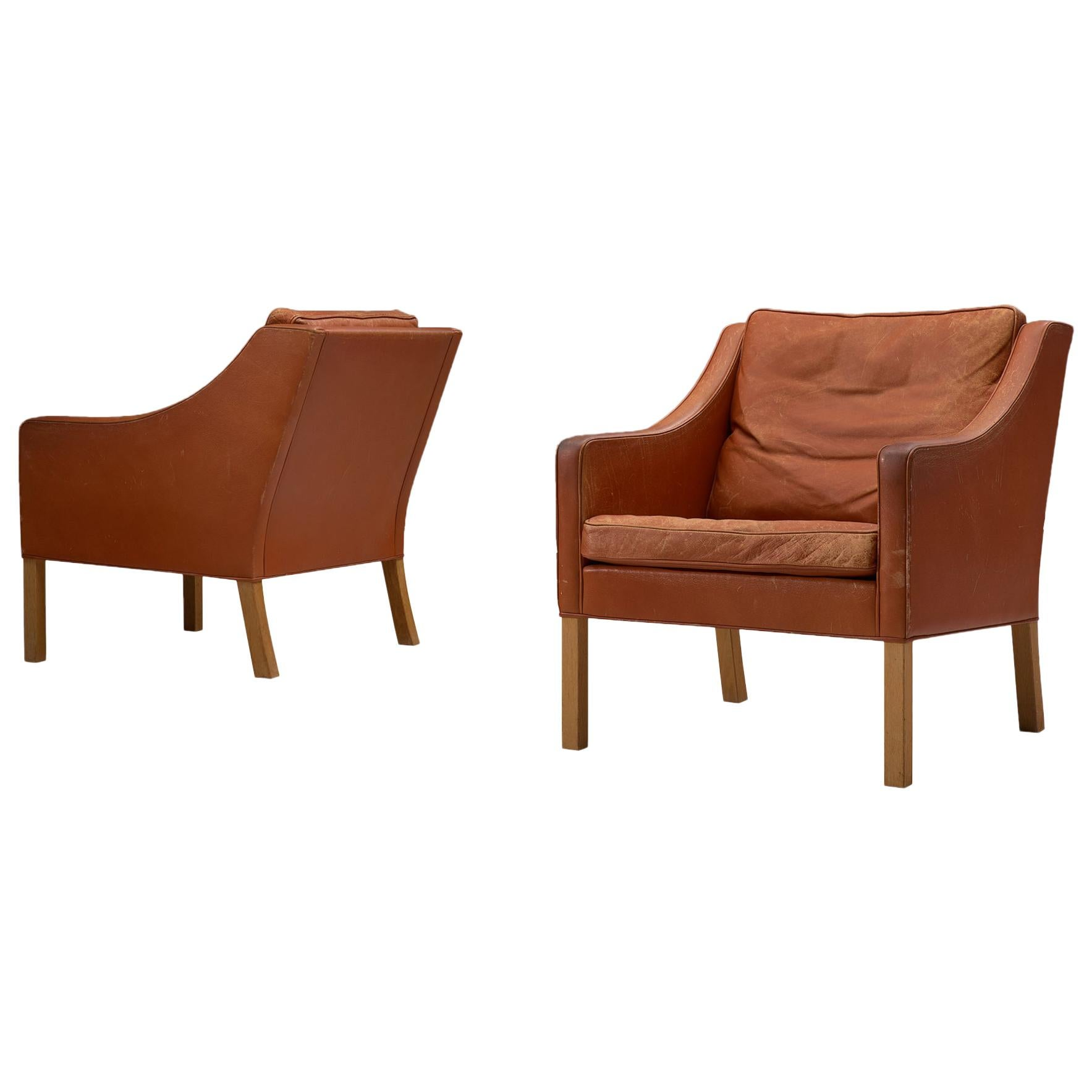 Set of 2 Lounge Chairs by Børge Mogensen for Fredericia Møbelfabrik, Denmark