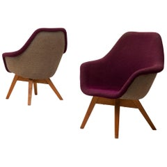 Set of 2 Lounge Chairs by Miroslav Navratil in Fabric and Oak, 1960s