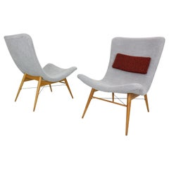 Set of 2 Lounge Chairs by Miroslav Navratil, Newly Reupholstered, 1959s