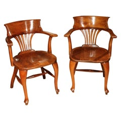 Set of 2 Mahogany Office Chairs