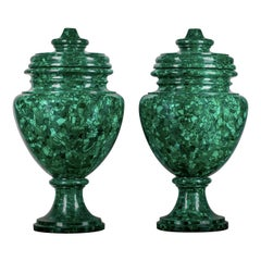 Set of 2 Malachite Vases
