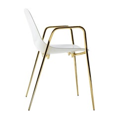 Set of 2 Mammamia White-Gold Chair