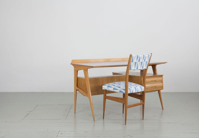 Set of 2 Maple Chairs with Upholstery Fabric