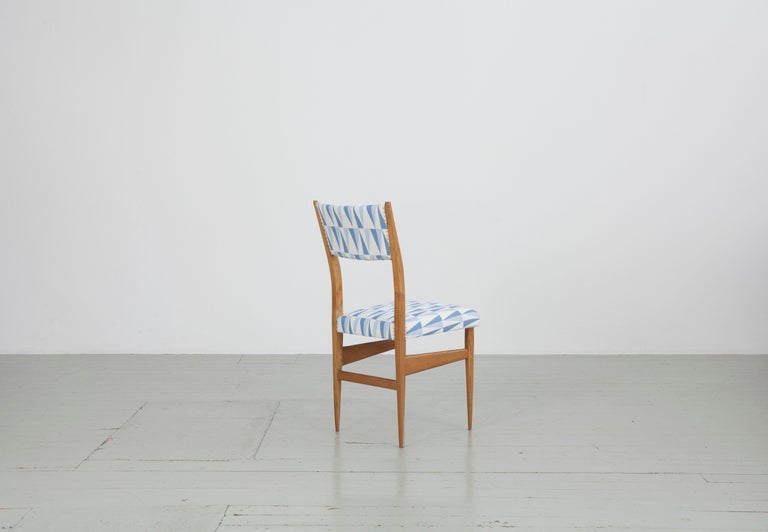 Mid-20th Century Set of 2 Maple Chairs with Upholstery Fabric