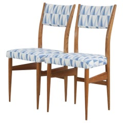 """Set of 2 Maple Chairs with Upholstery Fabric """"Gio Ponti"""", Italy, 1950s"""