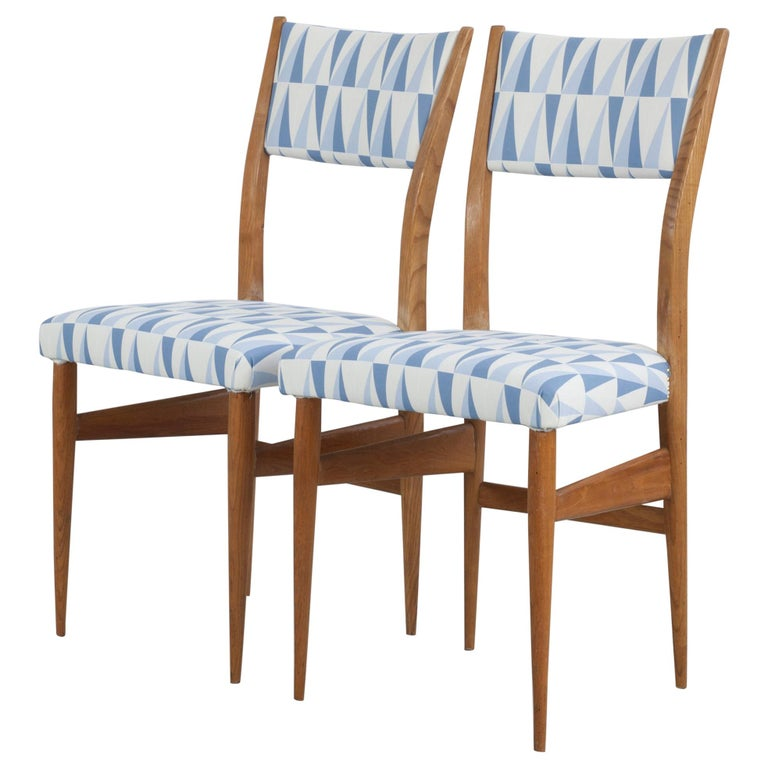 """Set of 2 Maple Chairs with Upholstery Fabric """"Gio Ponti"""", Italy, 1950s For Sale"""