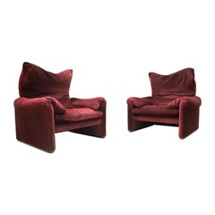 Set of 2 Maralunga Armchairs by Vico Magistretti for Cassina, 1970s