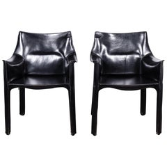 Set of 2 Mario Bellini CAB 414 Chairs in Black Leather for Cassina