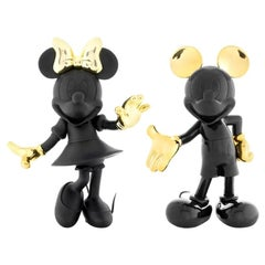 In Stock in Los Angeles, Set of 2 Mickey & Minnie Black and Gold, Pop Figurines