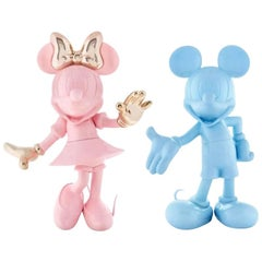 In Stock in Los Angeles, Set of 2 Mickey Pastel Blue & Minnie Pink Figurines