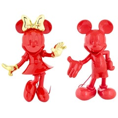 In Stock in Los Angeles, Set of 2 Mickey Red & Minnie Red & Gold Pop Figurines