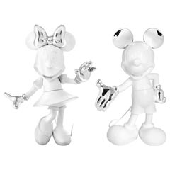 In Stock in Los Angeles, Set of 2 Mickey & Minnie Glossy White / Chrome Figurine