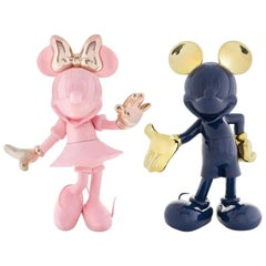 Set of 2 Mickey Mouse Navy Blue and Minnie Pastel Pink, Pop Sculpture Figurines