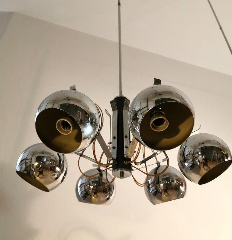 Mid-Century Modern  Chandelier in Metal Chrome Mid Century, Italian Design 1970s Set of 2 For Sale