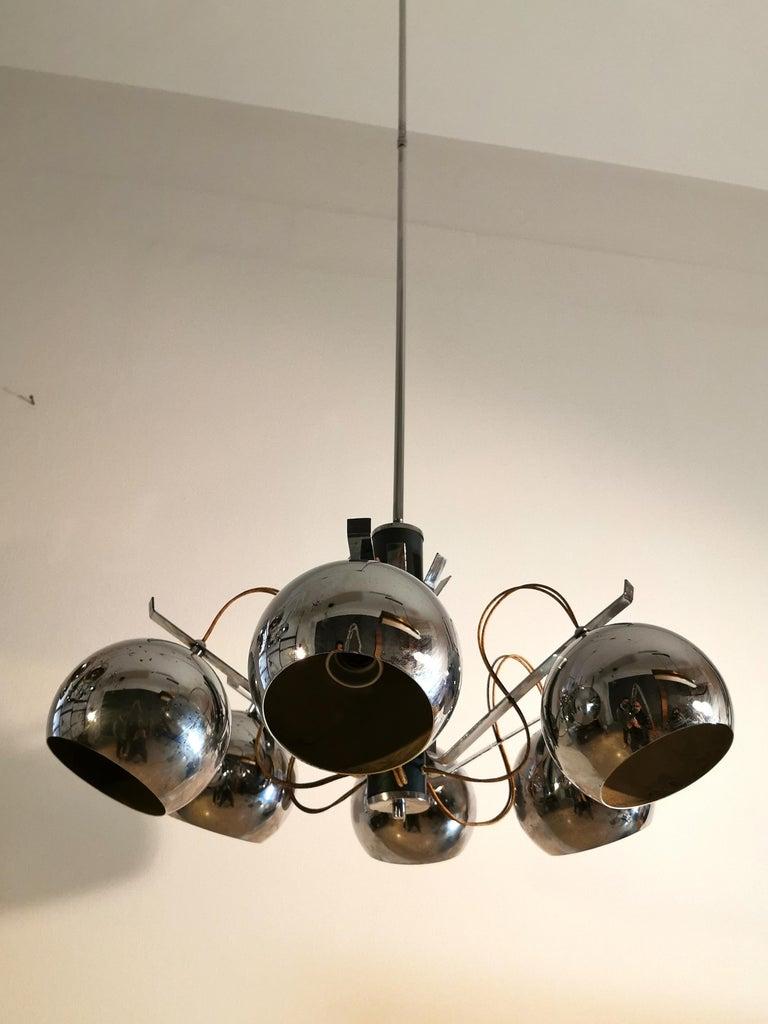 Chandelier in Metal Chrome Mid Century, Italian Design 1970s Set of 2 For Sale 2