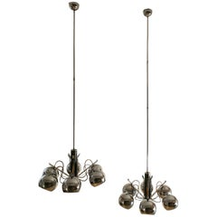 Set of 2 Midcentury Chandelier in Metal Chrome, Italian Design, 1970s