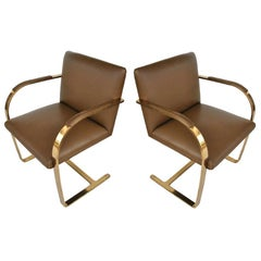 Set of 2 Midcentury Mies van der Rohe Brno Solid Brass Flat Bar Chairs