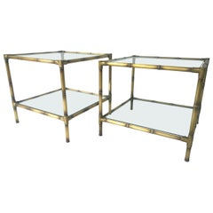 Set of 2 Mid-Century Modern Faux Bamboo Brushed Brass and Glass Side/End Tables