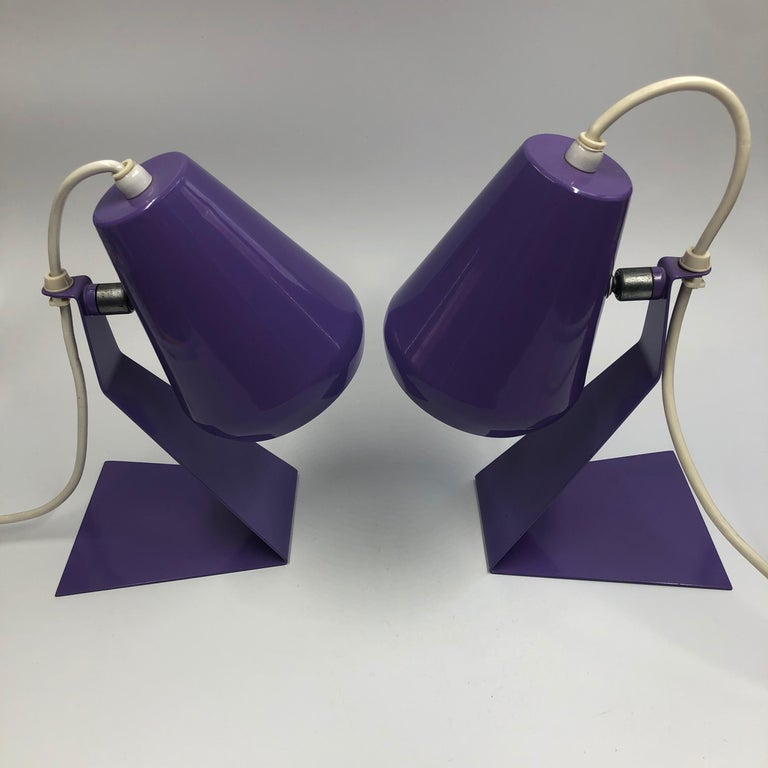Set of 2 Midcentury Z Bedside Table Lamps, 1960s Adjustable Lamp Shade For Sale 4