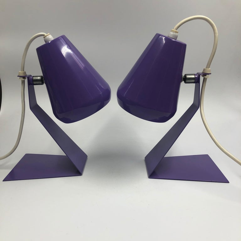 Set of 2 Midcentury Z Bedside Table Lamps, 1960s Adjustable Lamp Shade For Sale 5