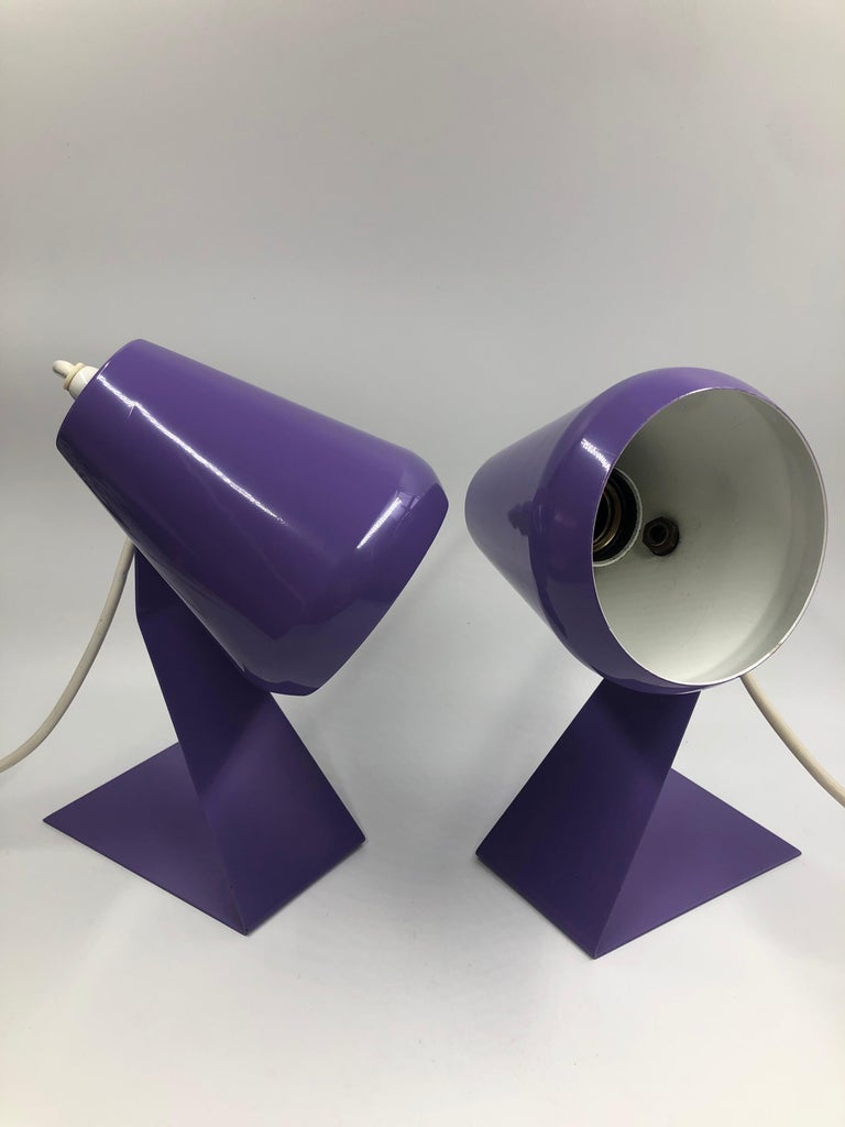 Set of 2 extremely rare Mid-Century Modern table lamps / bedside table lamps. Designed and manufactured in 1960s, the Netherlands. The lamp shades are adjustable. 