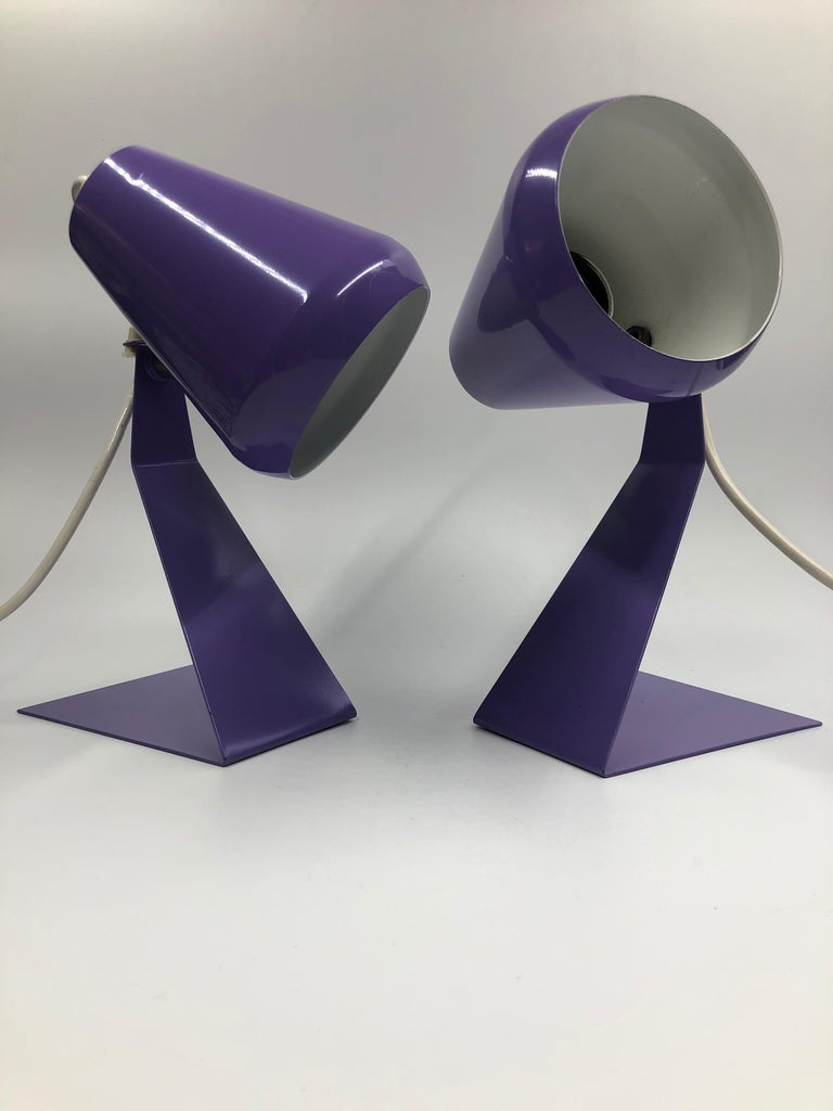 Mid-Century Modern Set of 2 Midcentury Z Bedside Table Lamps, 1960s Adjustable Lamp Shade For Sale