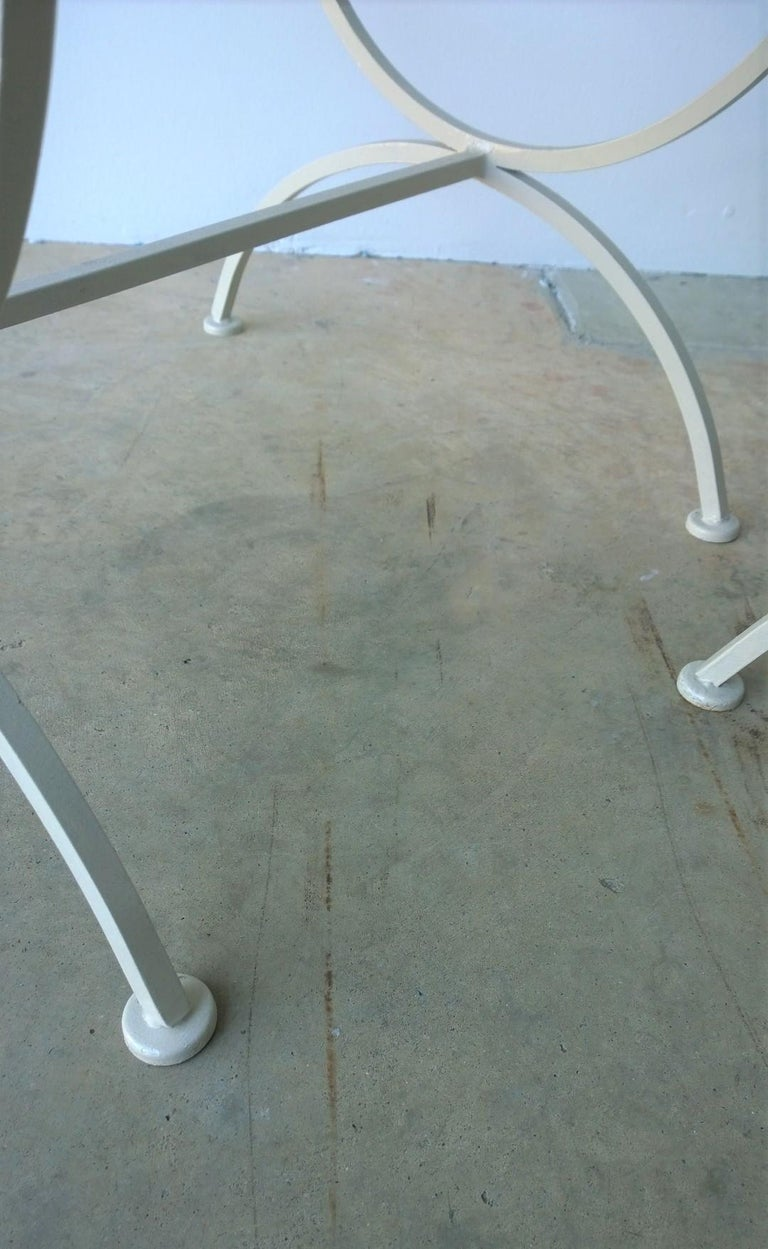 Set of 2 Bob Anderson Refinished Wrought Iron Side Chairs in Almond White For Sale 4