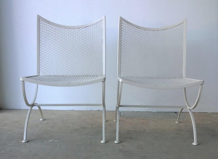 Post-Modern Set of 2 Bob Anderson Refinished Wrought Iron Side Chairs in Almond White For Sale