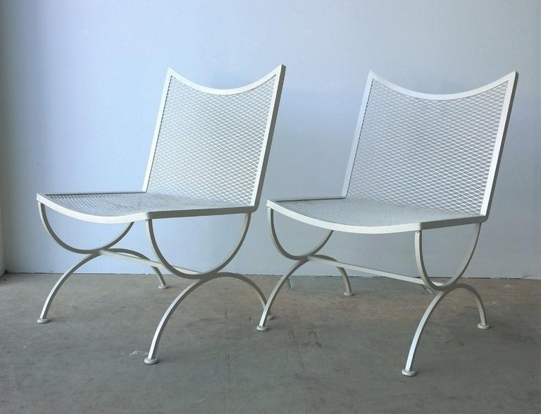 American Set of 2 Bob Anderson Refinished Wrought Iron Side Chairs in Almond White For Sale