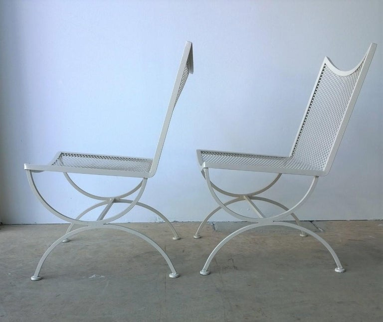 Set of 2 Bob Anderson Refinished Wrought Iron Side Chairs in Almond White In Good Condition For Sale In Houston, TX