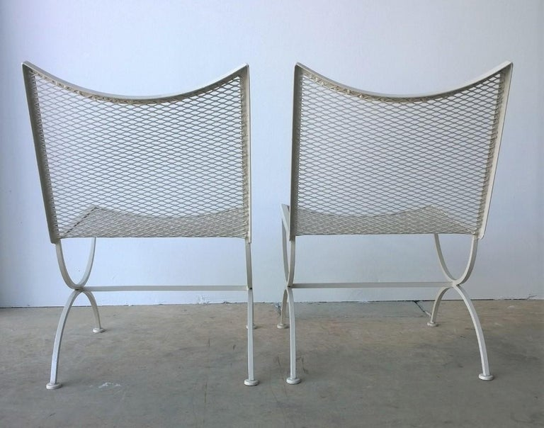 20th Century Set of 2 Bob Anderson Refinished Wrought Iron Side Chairs in Almond White For Sale