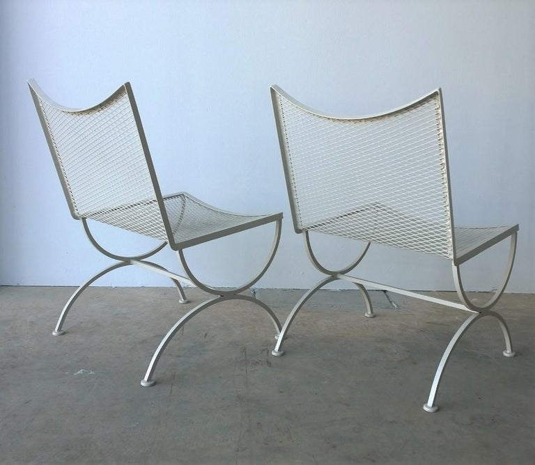 Set of 2 Bob Anderson Refinished Wrought Iron Side Chairs in Almond White For Sale 1
