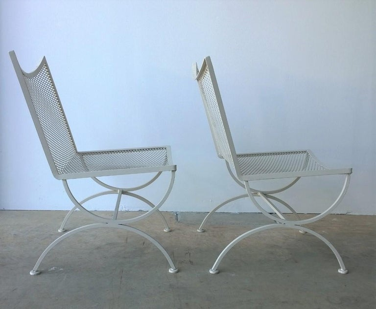 Set of 2 Bob Anderson Refinished Wrought Iron Side Chairs in Almond White For Sale 2