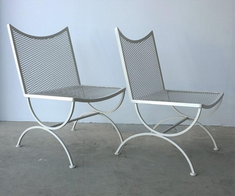 Set of 2 Bob Anderson Refinished Wrought Iron Side Chairs in Almond White For Sale 3