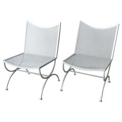 Set of 2 Mid Century Bob Anderson Painted Wrought Iron Patio Side Chairs
