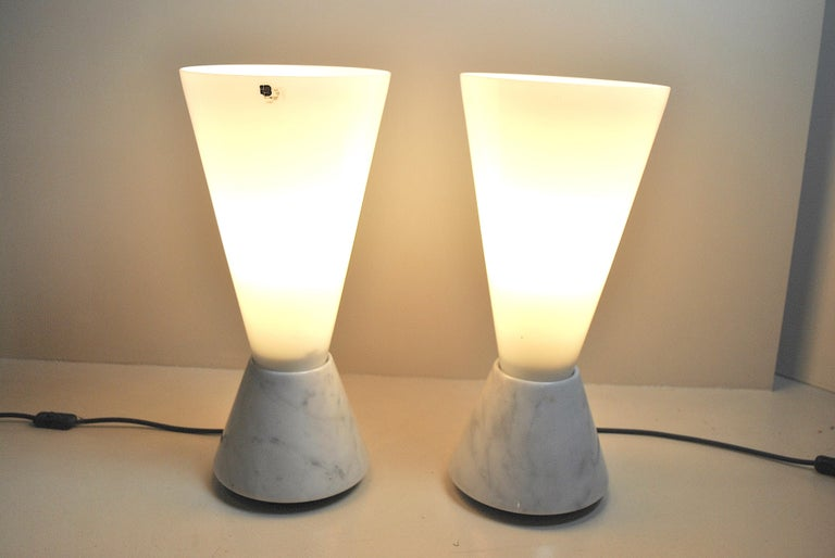 Set of 2 Midcentury Italian Lamp in Murano Glass and Marble Base, 1970s For Sale 12